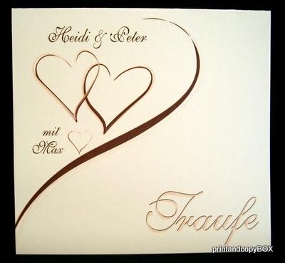 """Einladungskarte Hochzeit&Taufe """"Harmonie"""" braun"""
