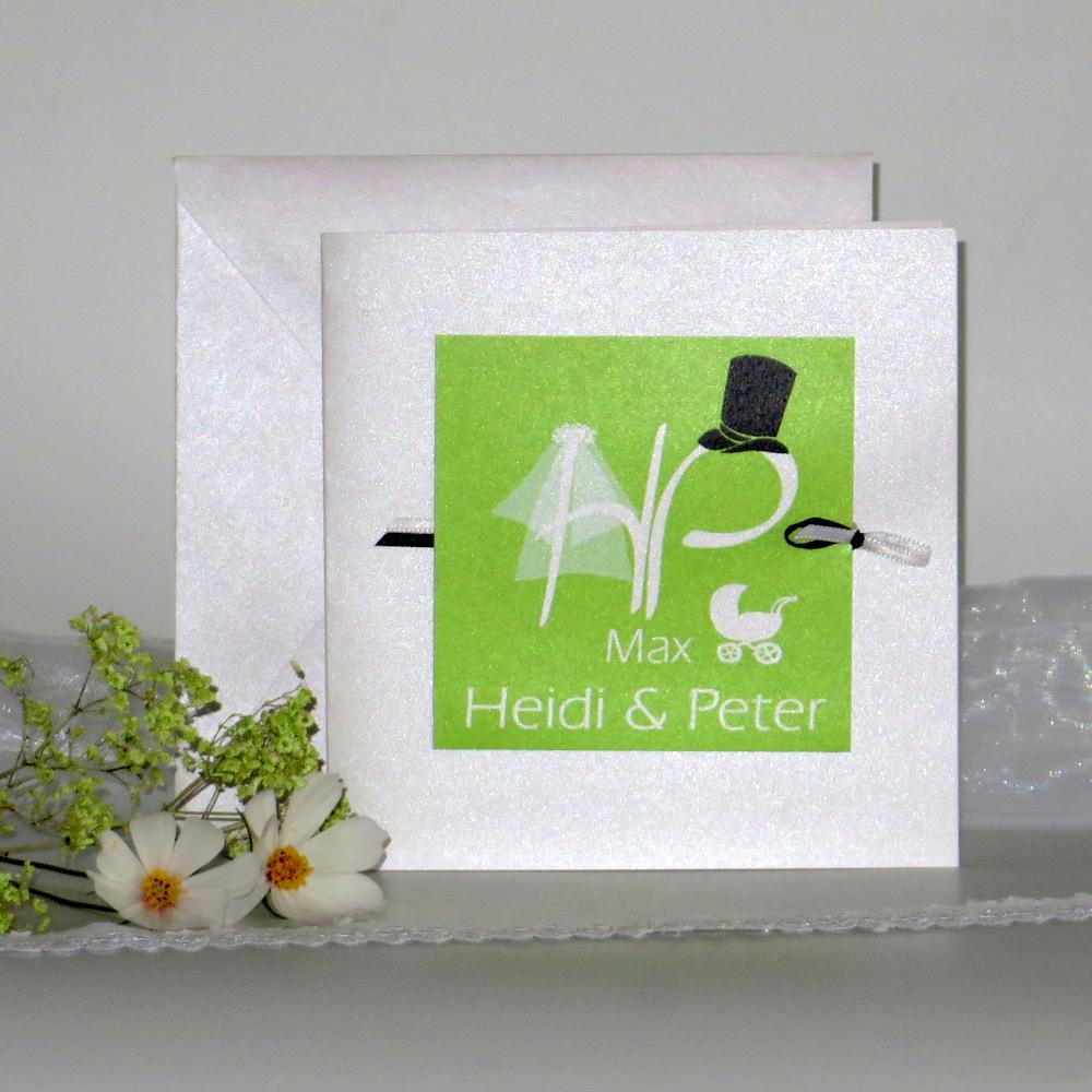 """Einladungskarte Hochzeit und Taufe """"Brautpaar"""" grün"""