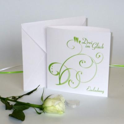 """Einladungskarte Hochzeit&Taufe """"Farbflirt grün&weiß"""""""