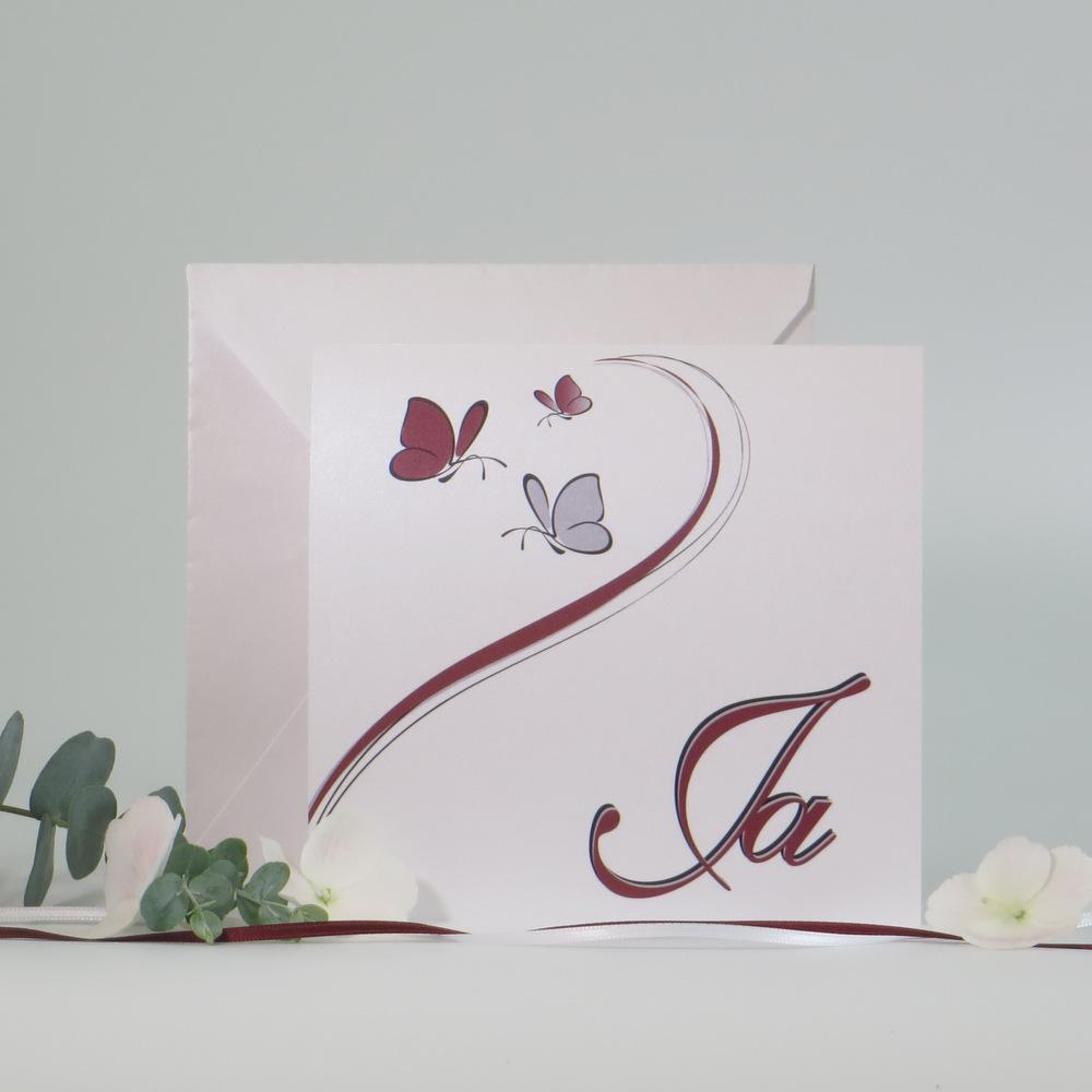 "Einladung Traufe ""Schmetterlinge"" bordeaux&grau"
