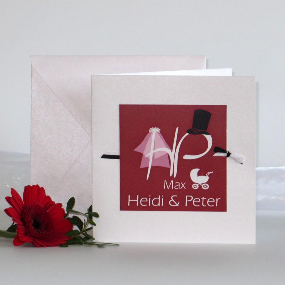 """Einladungskarte Hochzeit und Taufe """"Brautpaar"""" rot"""