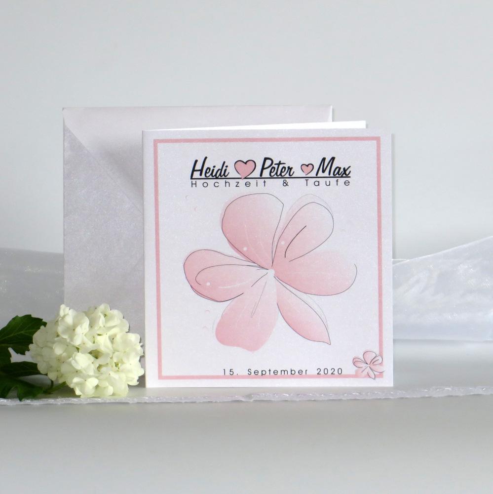 """Einladung Hochzeit & Taufe """"Blütenzauber"""" rosa Traufe"""