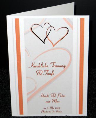 Programmheft für die Traufe mit einem modernen Design mit Herzen und Streifen in orange.