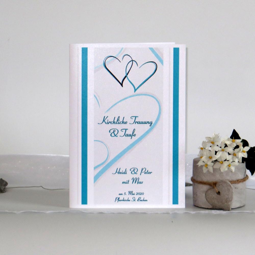 Besonderes Programmheft mit Herzen in türkis für eine Hochzeit mit Taufe.