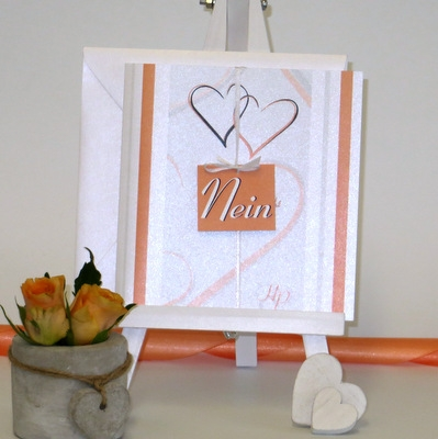 Extravagante Hochzeitseinladung in modernem Orange.
