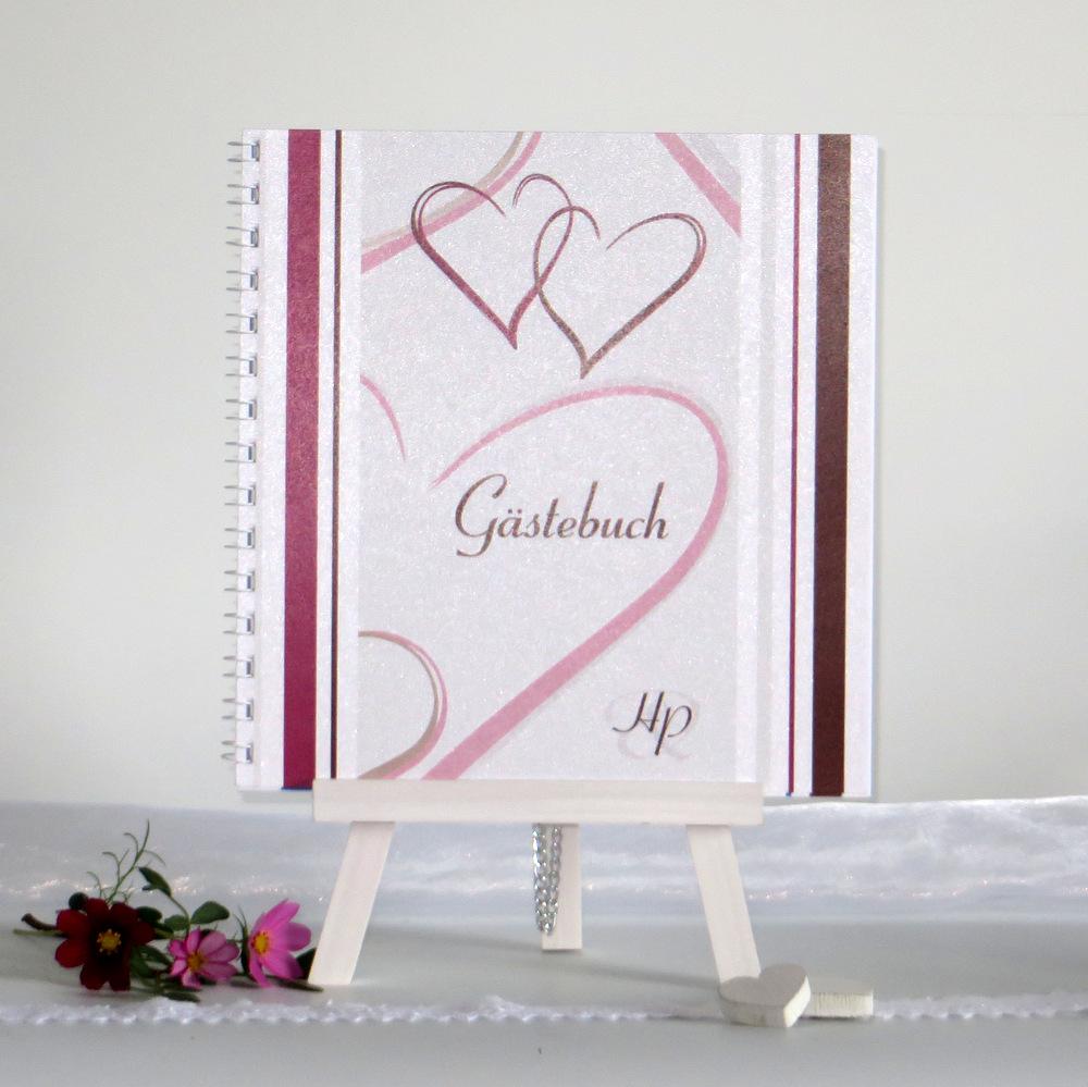 """Einzigartiges Gästebuch """"Nein, ich will!"""" in aubergine und braun mit Herzen"""