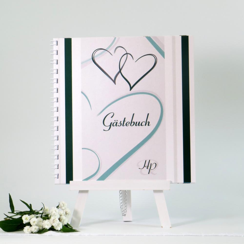 """Elegantes Gästebuch """"Nein, ich will!"""" Dunkelgrün und Weiß"""