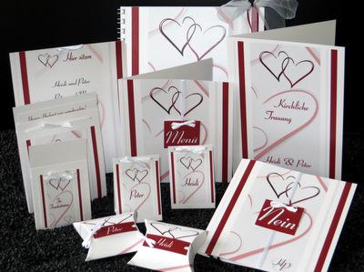 """Ausgefallenes Hochzeitskartenset """"Nein, ich will!"""" in rot und weiß"""