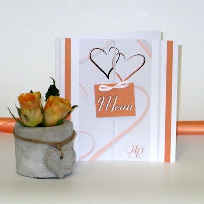 Hochzeitsmenükarte in modernem orange und weiß.