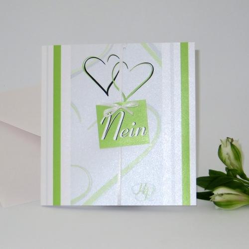 """Besondere Hochzeitseinladung in grün """"Nein, ich will!"""""""