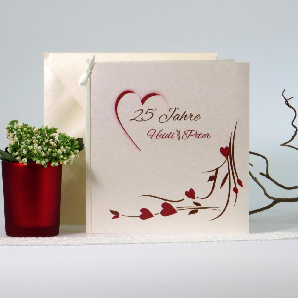 Hochzeitsherz braun & rot - Silberhochzeit