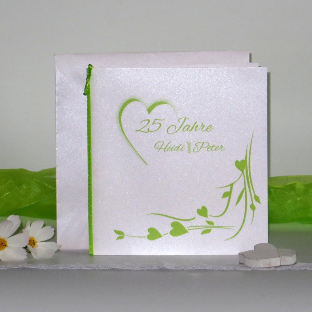 Hochzeitsherz grün - Silberhochzeit