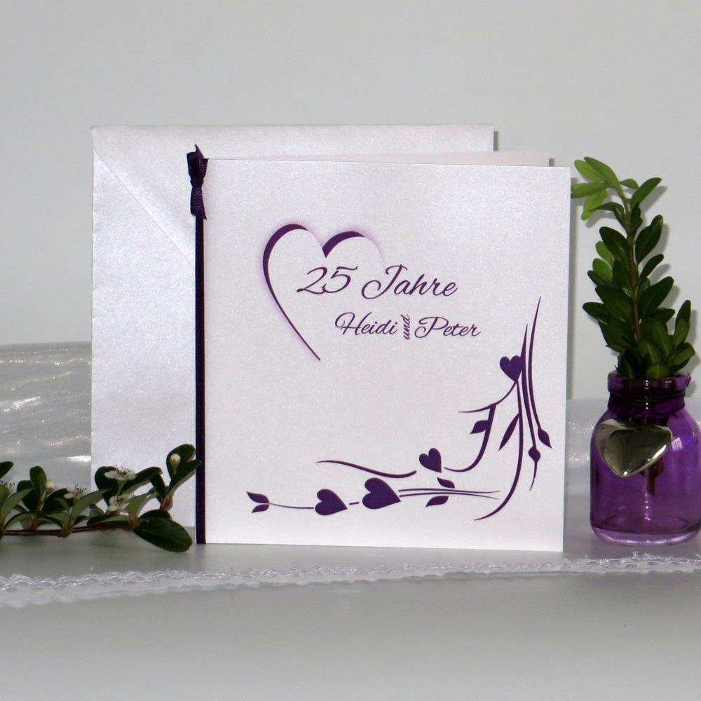 Hochzeitsherz lila - Silberhochzeit
