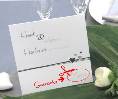Getränkekarte für Ihre Hochzeit mit Ihrem Design.