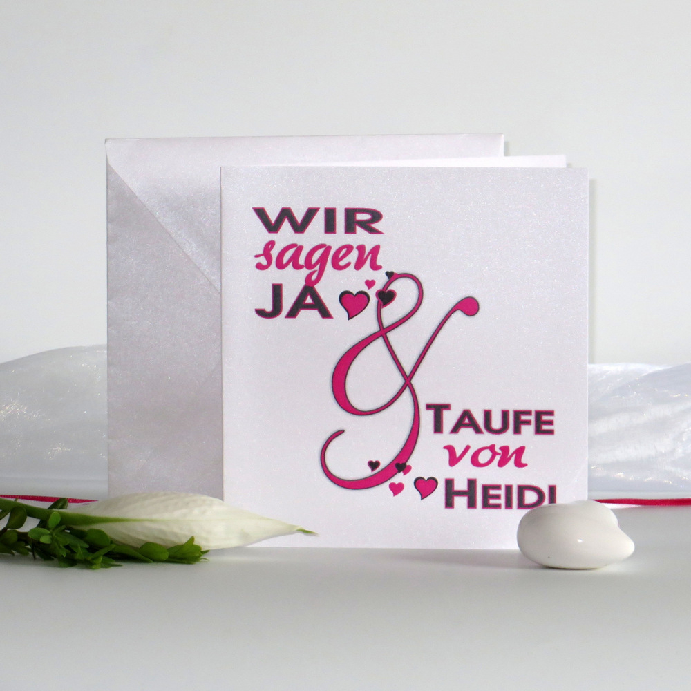 Einladungskarte zur Hochzeit mit Taufe mit Herzen
