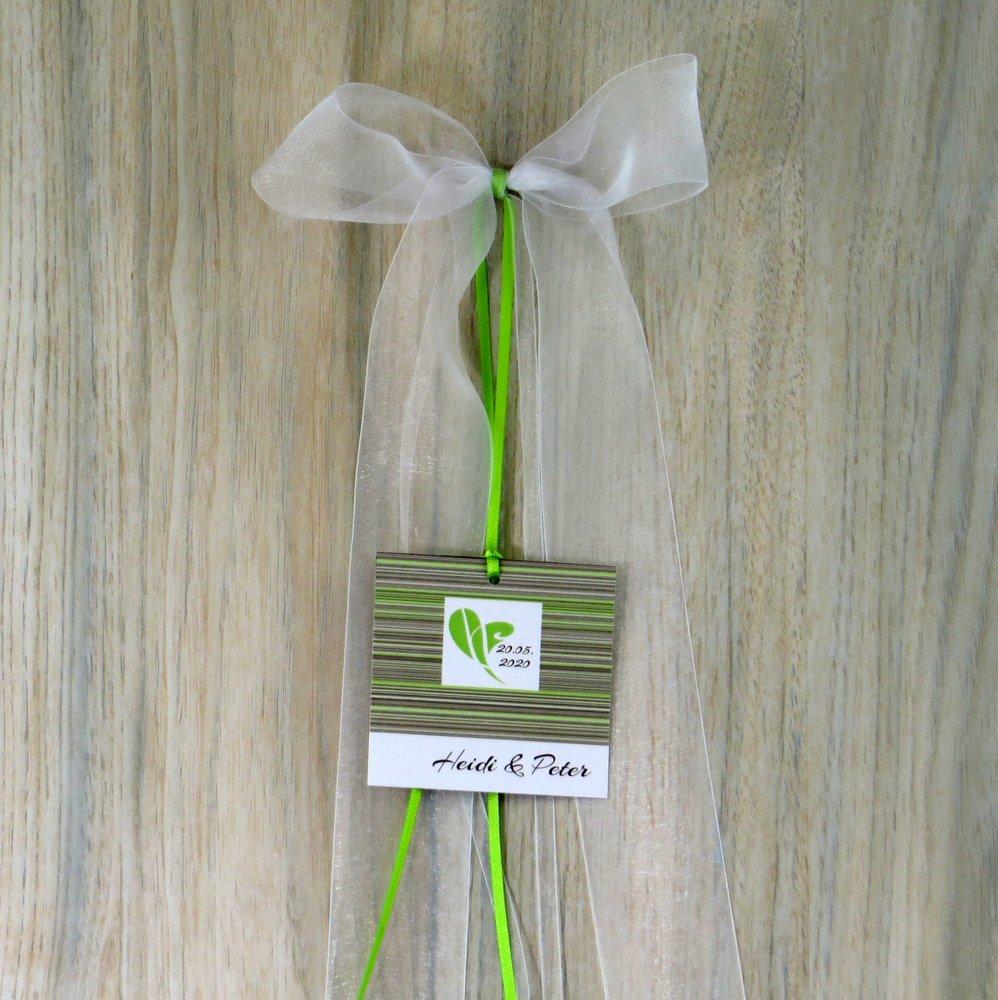 Autoschleife Feine Linien in grün und braun