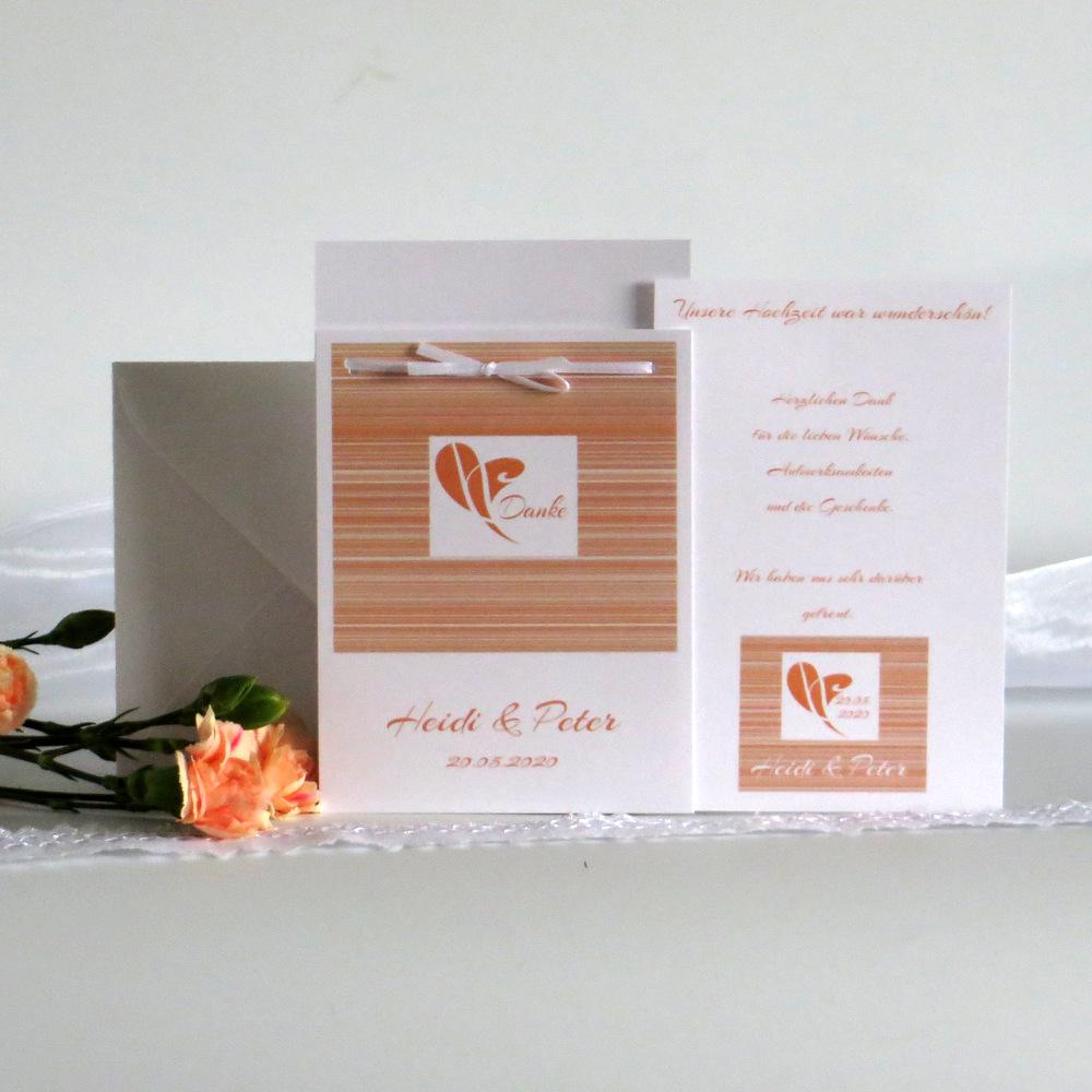 Trendige Danksagung Fototasche mit feinem Linienmotiv in orange.
