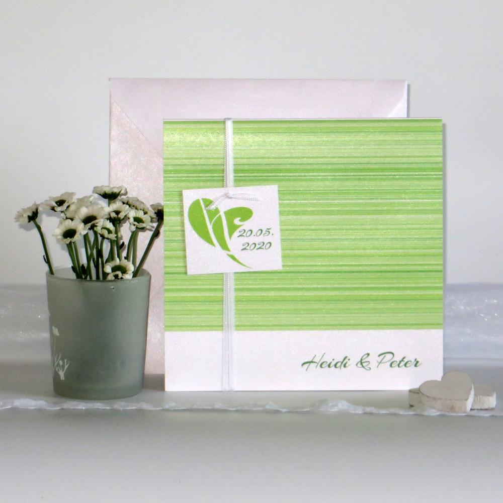 """Hochzeitseinladung """"Feine Linien"""" grün"""