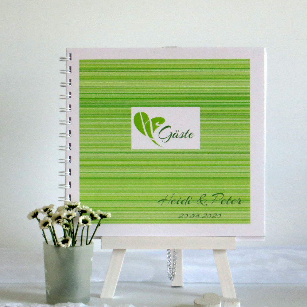 "Gästebuch ""Feine Linien"" grün"