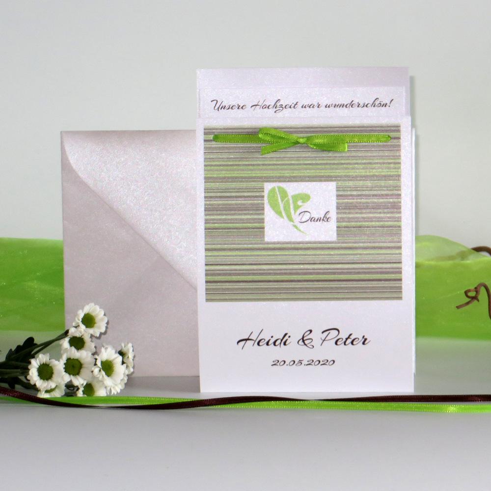 """Danksagung Fototasche """"Feine Linien"""" grün & braun"""