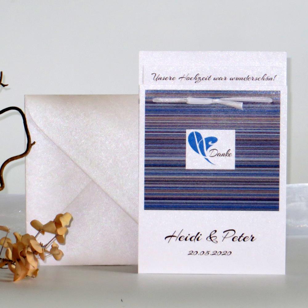 """Danksagung Fototasche """"Feine Linien"""" blau & braun"""
