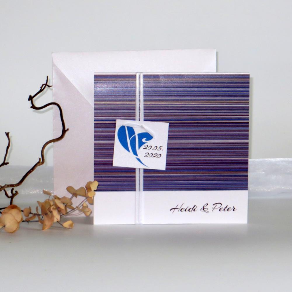 """Hochzeitseinladung """"Feine Linien"""" blau & braun"""