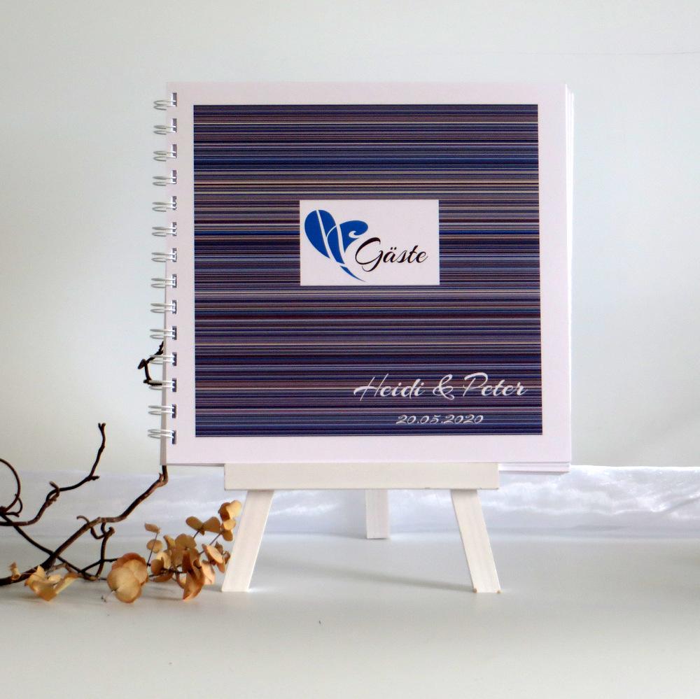 """Gästebuch """"Feine Linien"""" blau & braun"""