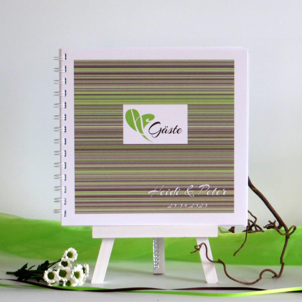 """Gästebuch """"Feine Linien"""" grün & braun"""
