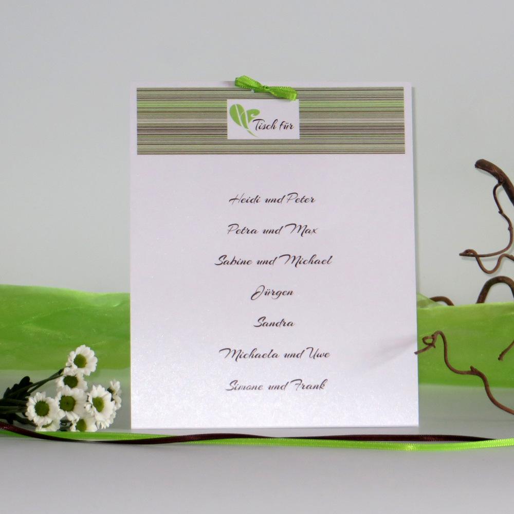 """Tischaufsteller """"Feine Linien"""" grün & braun - groß"""