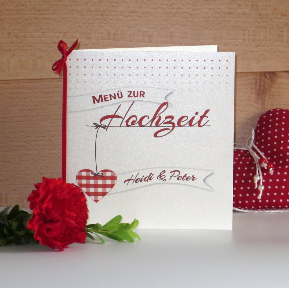 Edler Karton mit einem herzigen Design bedruckt als Menükarte.
