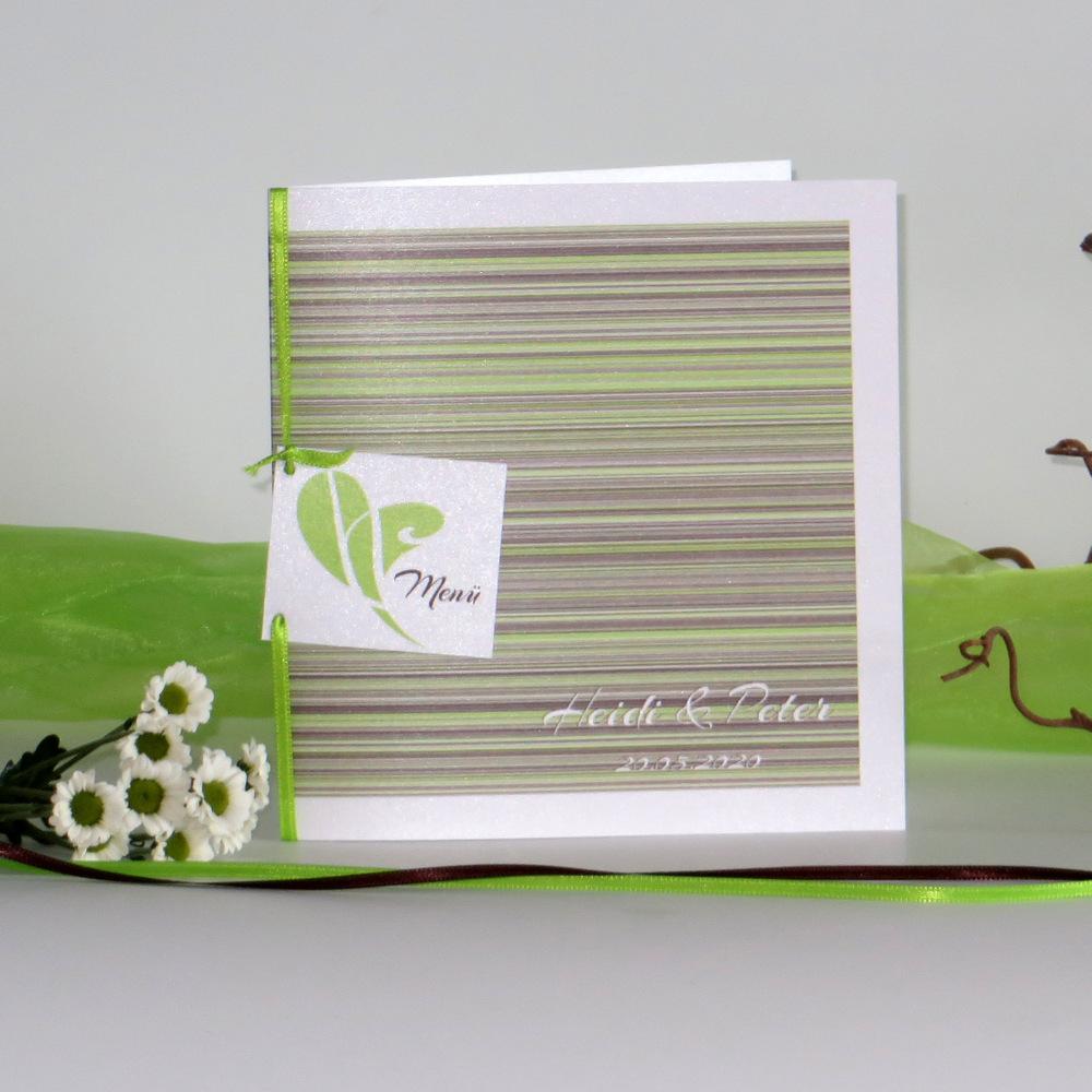"""Menükarte """"Feine Linien"""" grün & braun"""