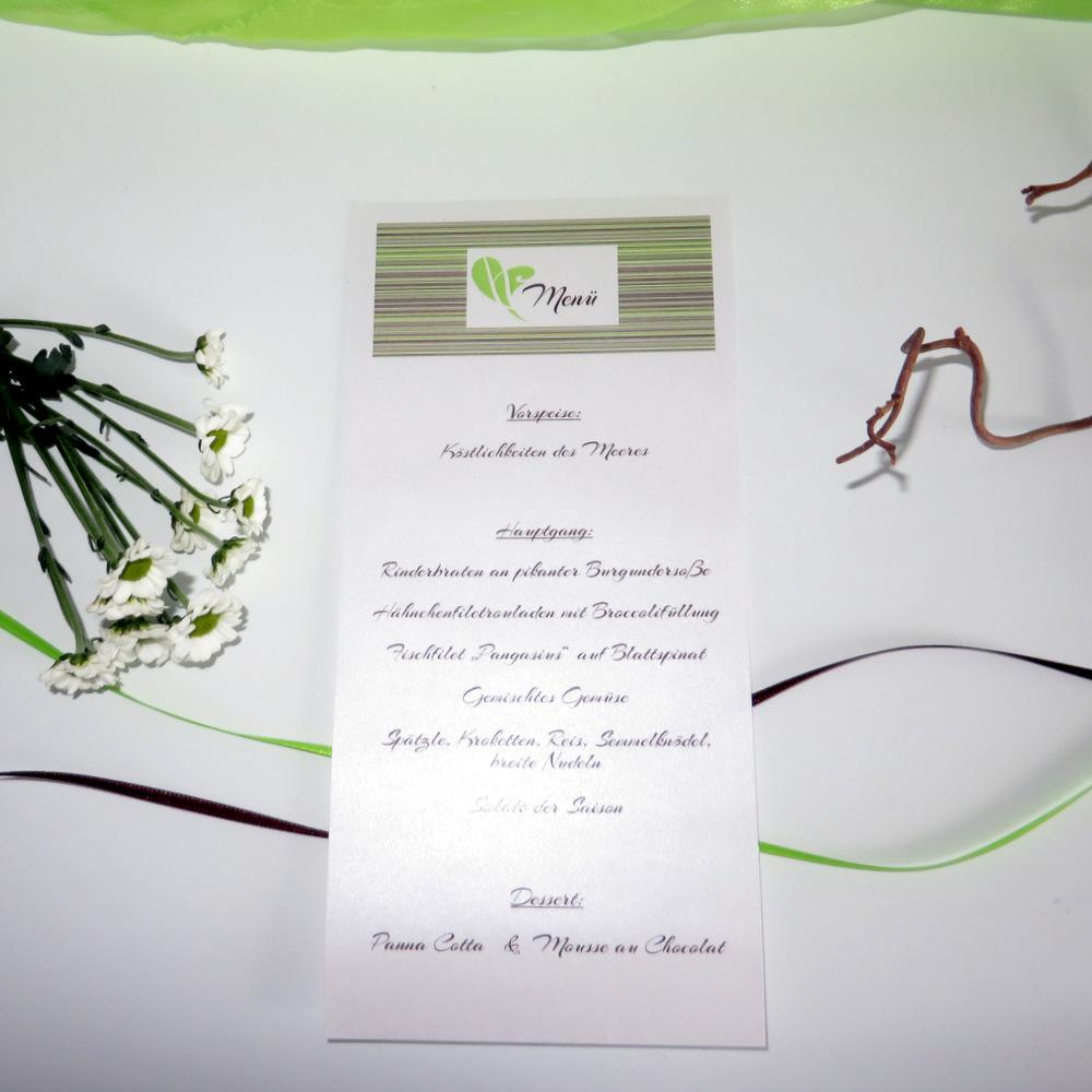 """Menükarte-Schriftrolle """"Feine Linien"""" grün & braun"""