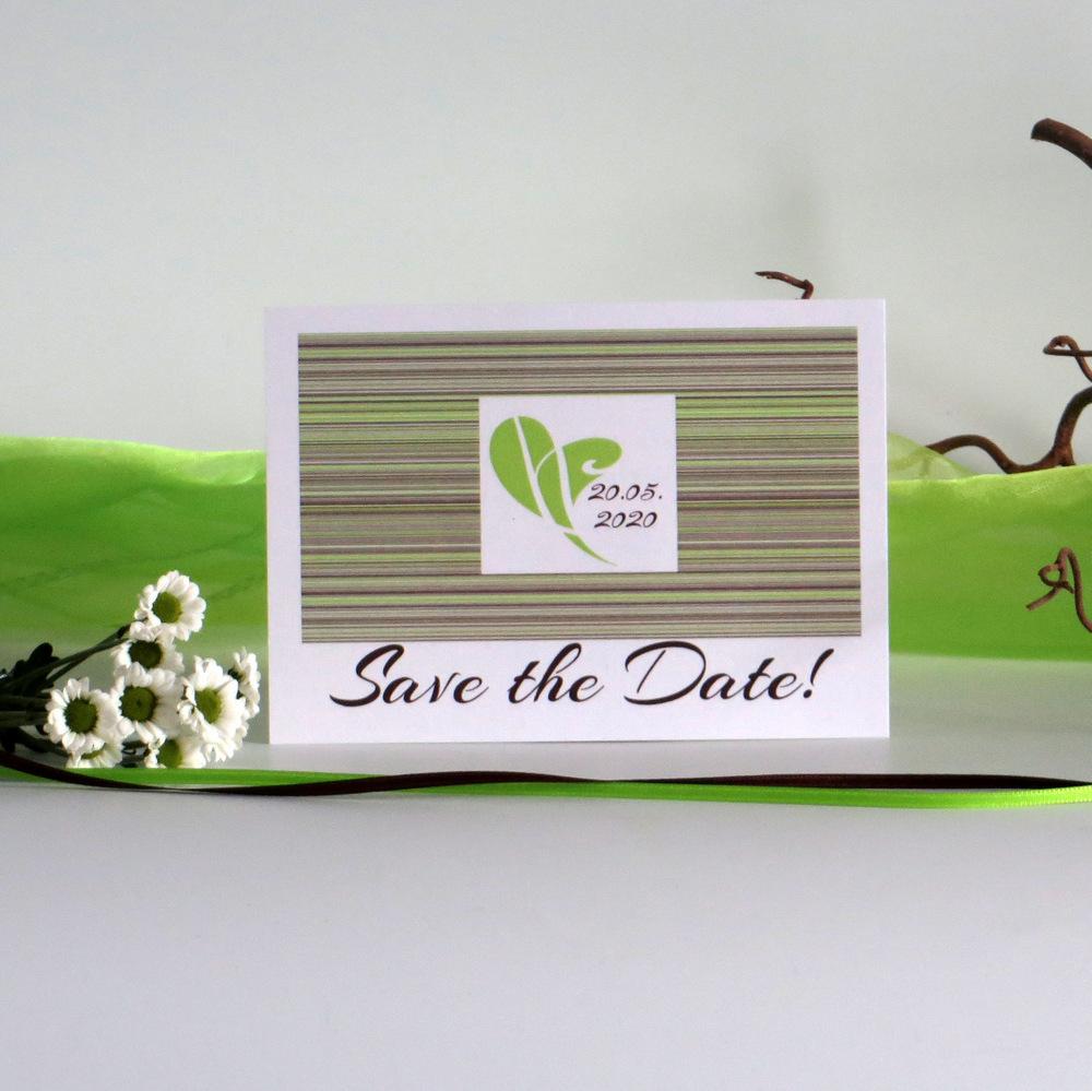 """Save the Date """"Feine Linien"""" grün & braun"""