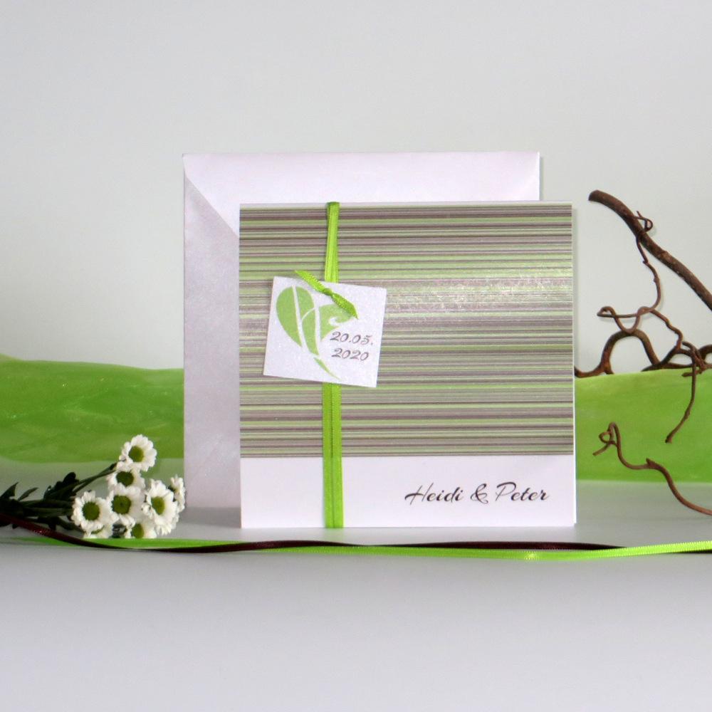 """Hochzeitseinladung """"Feine Linien"""" grün & braun"""