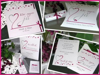 Ausgefallene Hochzeitskarten in weiß und pink
