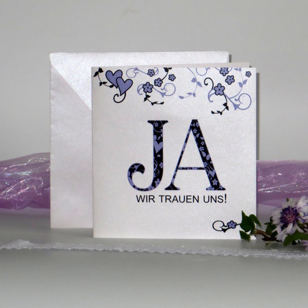 """Hochzeitseinladung """"Blumenornament"""" flieder"""