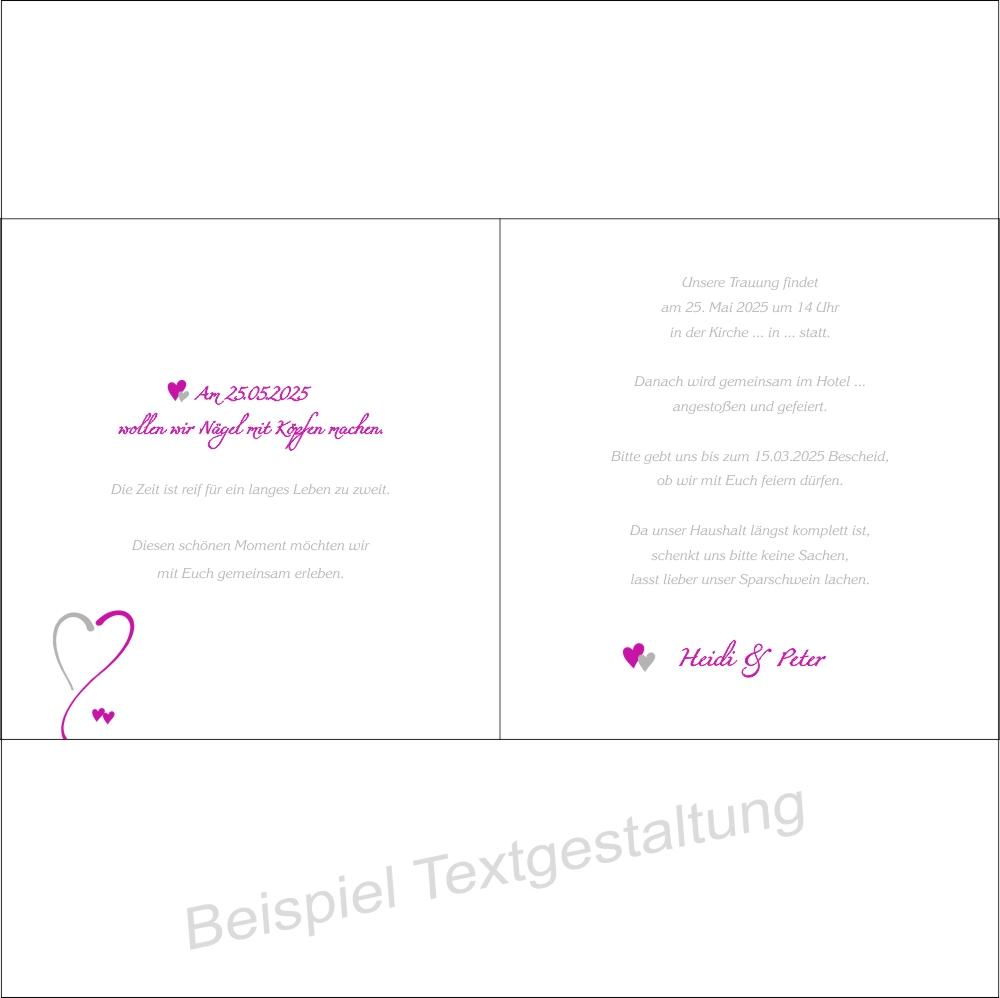 Moderne Hochzeitseinladung in pink und weiß mit Innentextgestaltung
