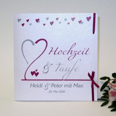 Einladung zur Traufe mit kleinen Herzen in pink und grau.