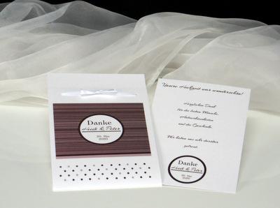 Modische Danksagungskarte mit Platz für persönliche Dankesworte und ein schönes Erinnerungsfoto für die Gäste