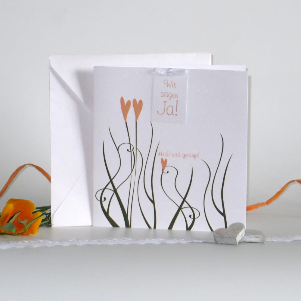 Einladungskarte zur Traufe, mit Herzen - dem Symbol für Liebe.