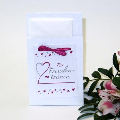 Romantische Hülle für die Freudentränentücher.