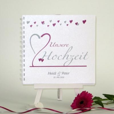 """Gästebuch """"Herzblume"""" pink"""
