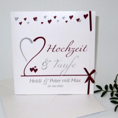Einladungskarte Hochzeit und Taufe mit Highlights in bordeaux und grau