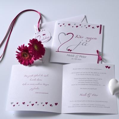 Moderne Hochzeitseinladung in pink und weiß