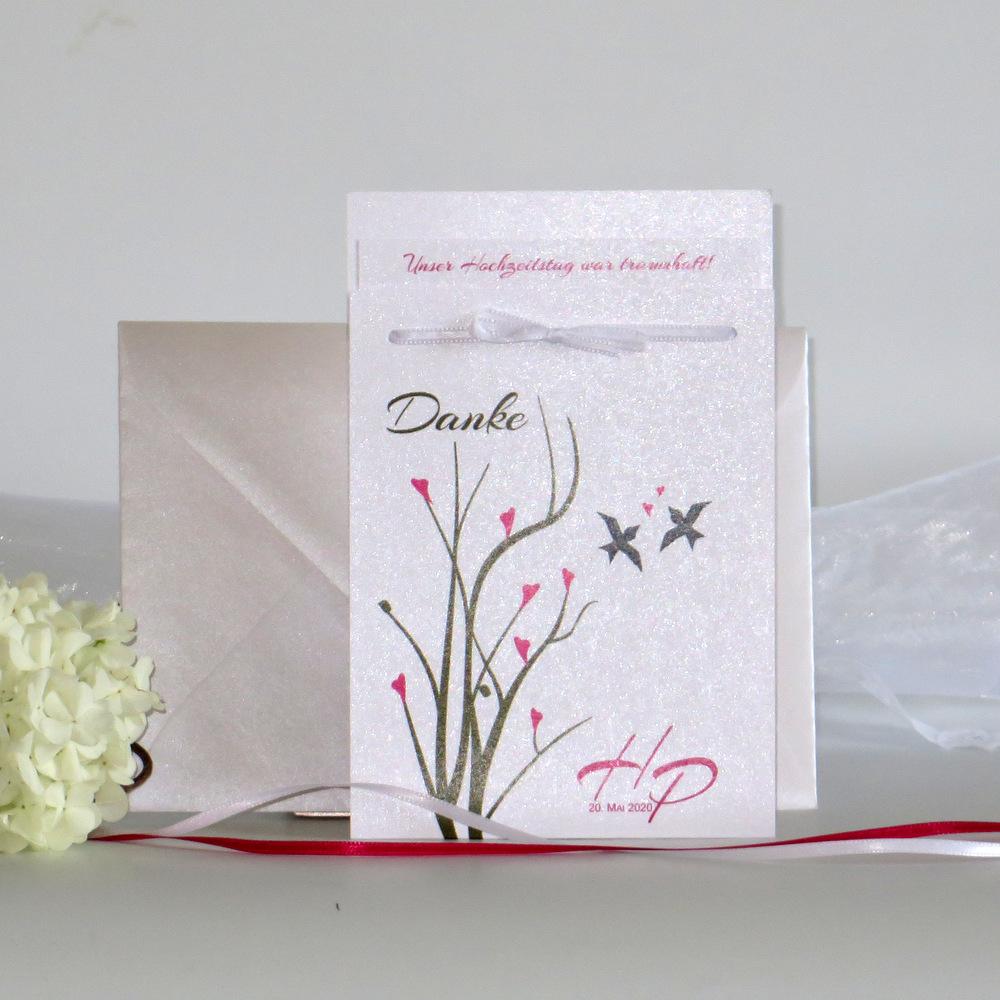 Sehr ausgefallene Dankeskarte für eine Hochzeit.