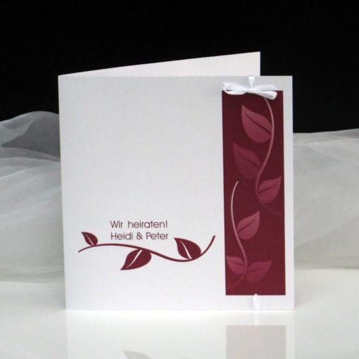 Hochzeitseinladung Blätter in rot