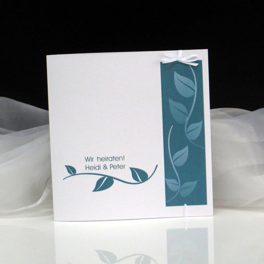 Hochzeitseinladung Blätter in türkis