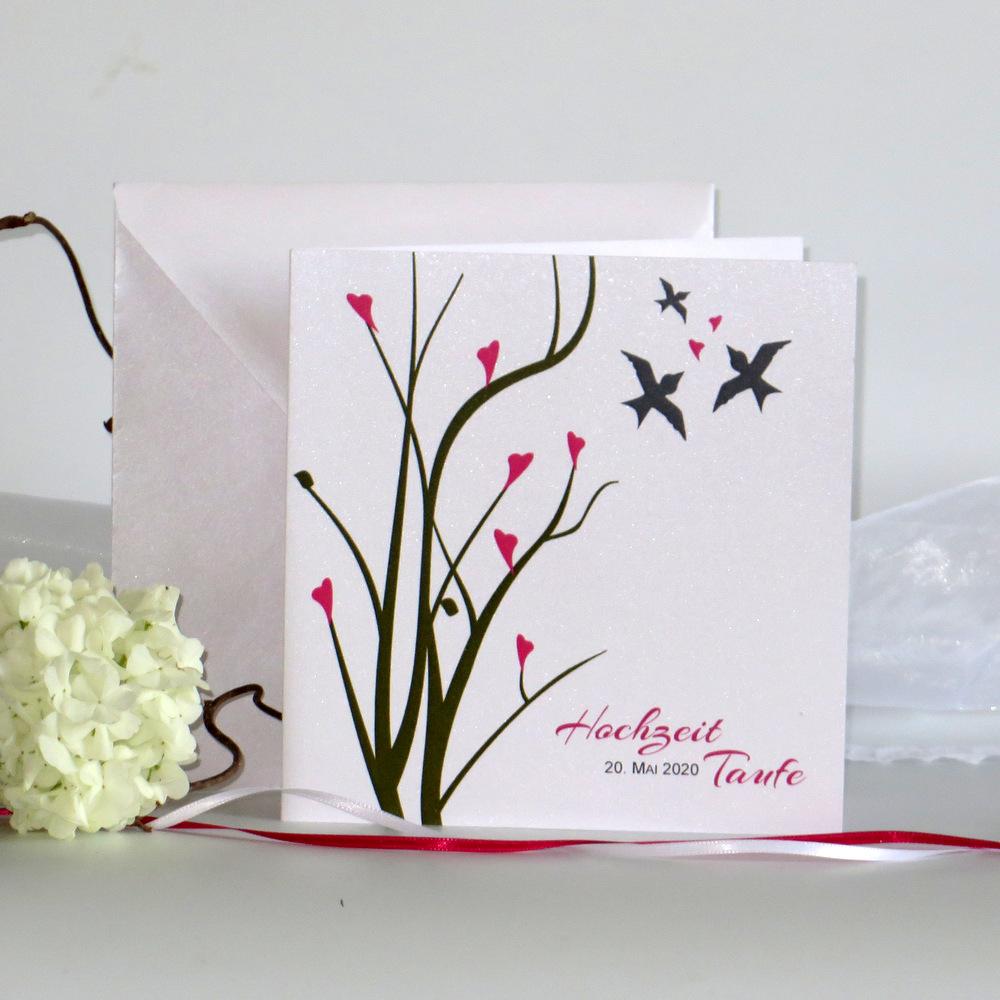 Einladungskarte zur Hochzeit mit Taufe mit einem romantischen Design in grün und pink.