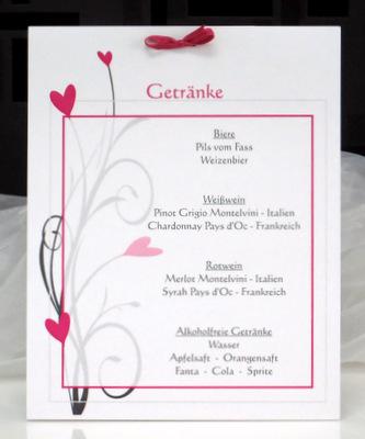 Eine besondere Getränkekarte für die Hochzeit in pink.