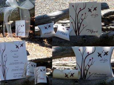 Topaktuelles Kartenset für eine romantische Hochzeit im Herbst in bordeaux und braun